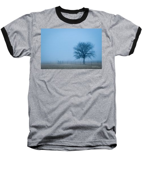 Baseball T-Shirt featuring the photograph A Lone Tree In The Fog by David Perry Lawrence