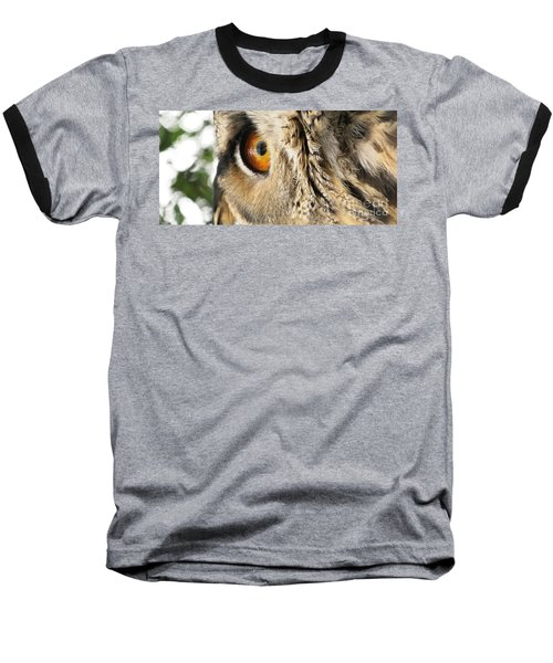 Baseball T-Shirt featuring the photograph Bubo Bubo- Eurasian Eagle Owl. Close Up. by Ausra Huntington nee Paulauskaite