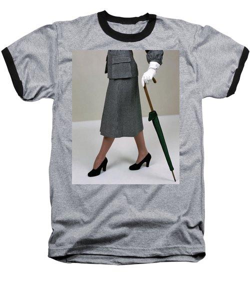 A Model Holding An Umbrella Baseball T-Shirt