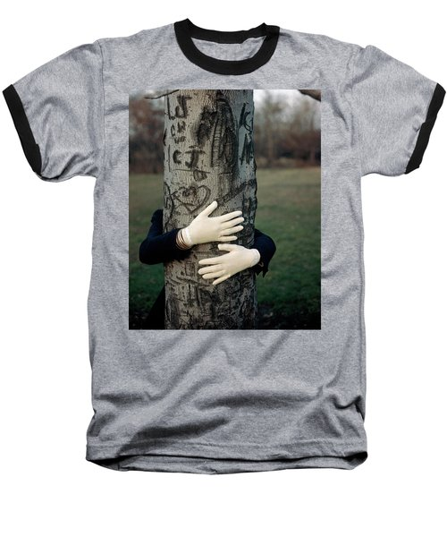 A Model Hugging A Tree Baseball T-Shirt
