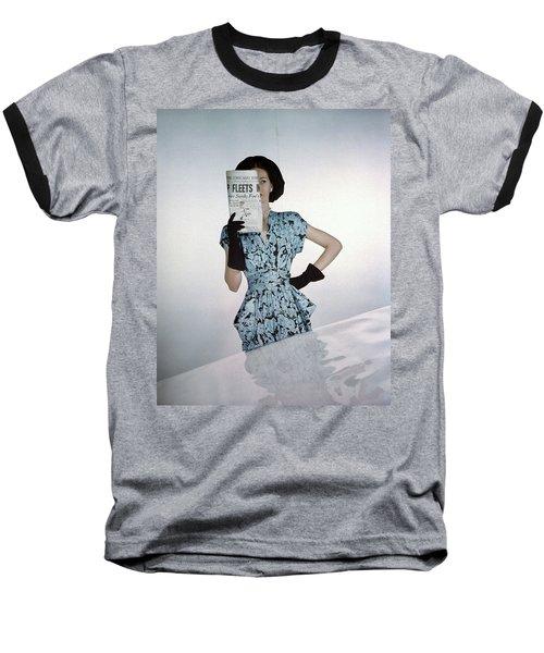A Model Wearing A Floral Blue Dress Baseball T-Shirt by Constantin Joff?