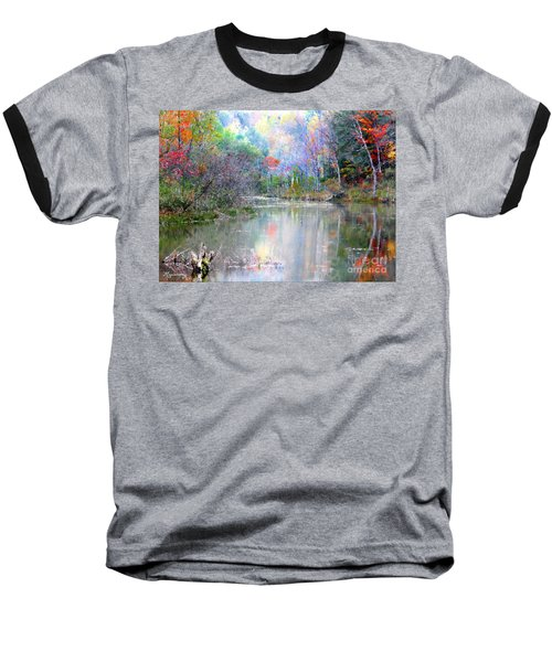Baseball T-Shirt featuring the photograph A Monet Autumn by Mariarosa Rockefeller