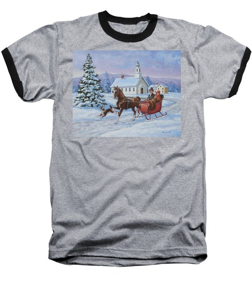 A One Horse Open Sleigh Baseball T-Shirt