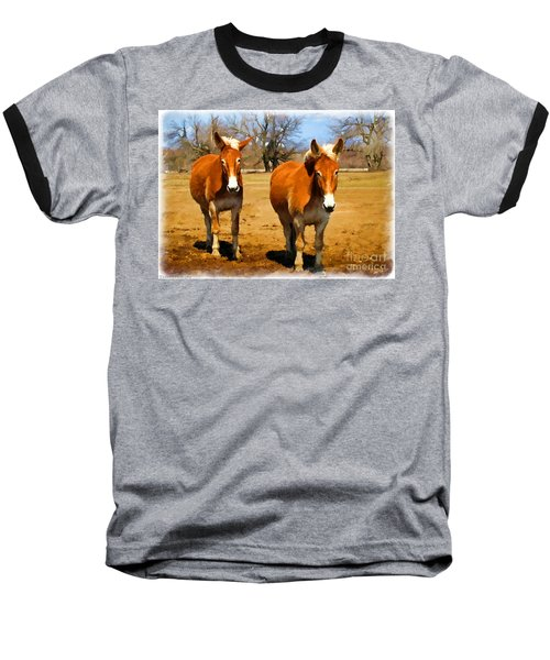 A Pair Of Mules  Digital Paint Baseball T-Shirt