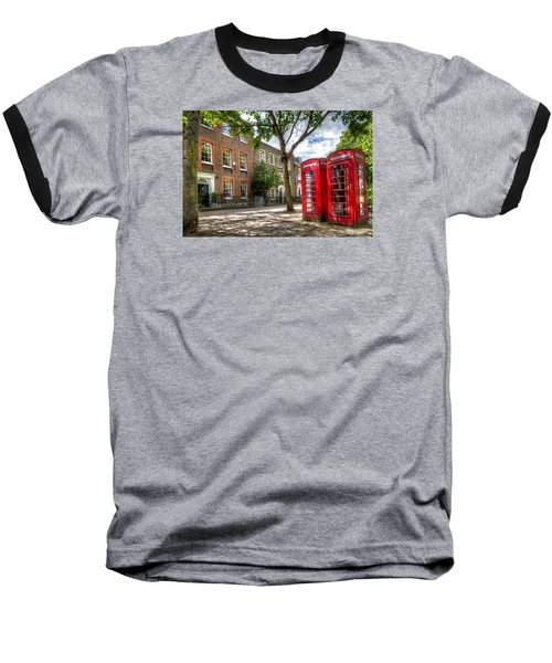 Baseball T-Shirt featuring the photograph A Pair Of Red Phone Booths by Tim Stanley