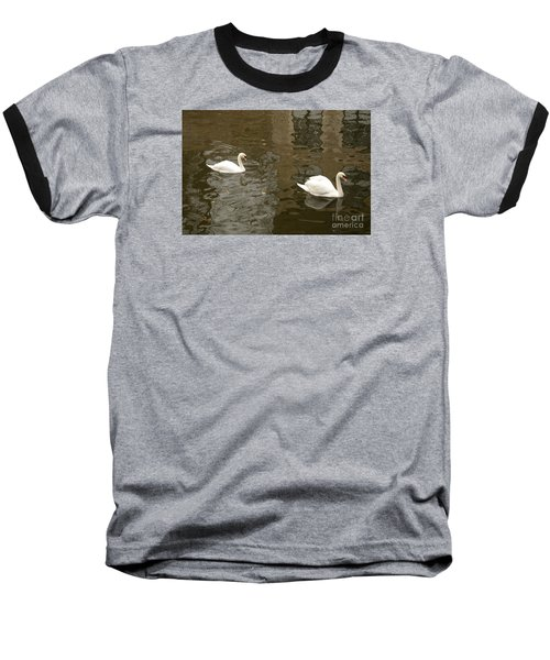 Baseball T-Shirt featuring the photograph A Pair Of Swans Bruges Belgium by Imran Ahmed