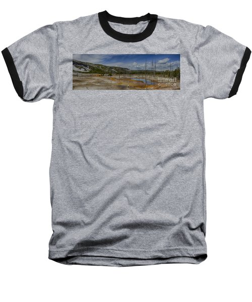 A Panoramic View Of  A Yellowstone Geyser Basin Baseball T-Shirt