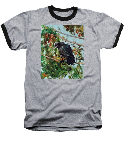 A Perch For Nevermore Baseball T-Shirt by Pattie Wall