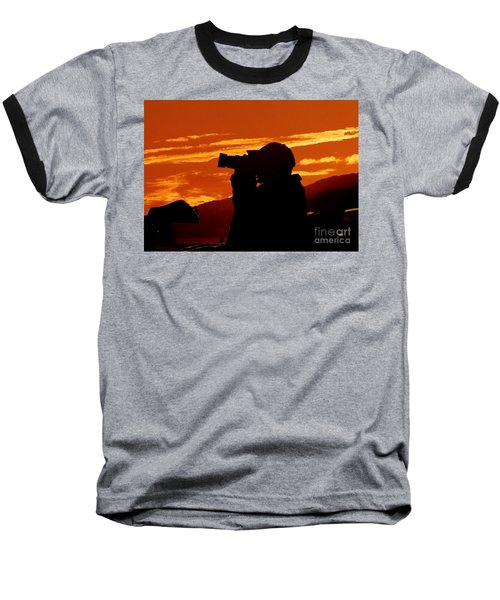 Baseball T-Shirt featuring the photograph A Photographer Enjoying His Work by Kathy Baccari