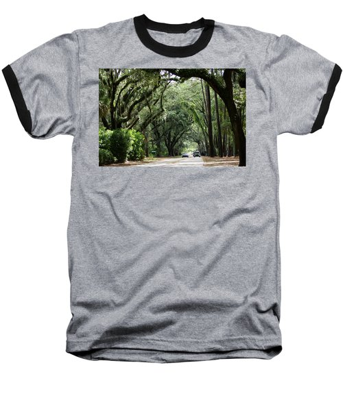 A Pretty Tree Covered Road Somewhere On Hilton Head Island Baseball T-Shirt
