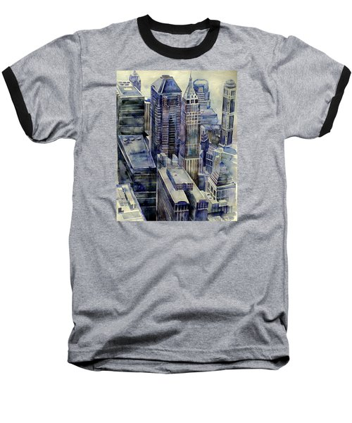 Baseball T-Shirt featuring the painting Rainy Day In Gotham by Jeffrey S Perrine