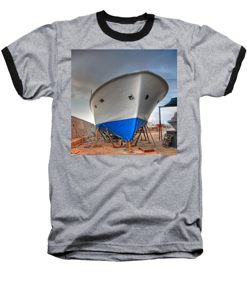 Baseball T-Shirt featuring the photograph a resting boat in Jaffa port by Ron Shoshani