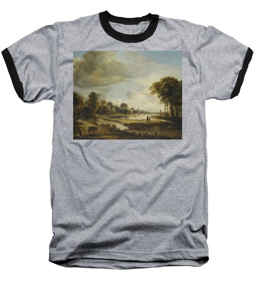 Baseball T-Shirt featuring the painting A River Landscape With Figures And Cattle by Gianfranco Weiss