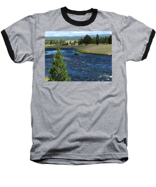 A River Runs Through Yellowstone Baseball T-Shirt by Laurel Powell
