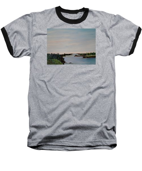 Baseball T-Shirt featuring the painting A River Shoreline by Marilyn  McNish