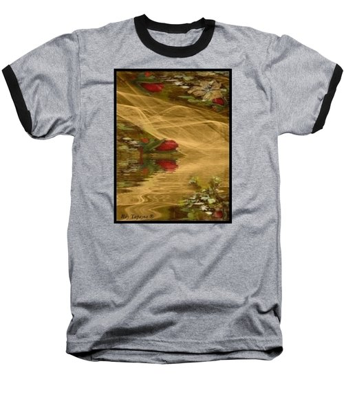 Baseball T-Shirt featuring the mixed media A Rose Bud Stream by Ray Tapajna