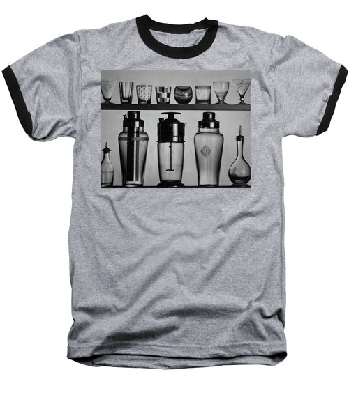 A Row Of Glasses On A Shelf Baseball T-Shirt