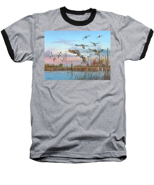 Baseball T-Shirt featuring the painting A Safe Return by Mike Brown