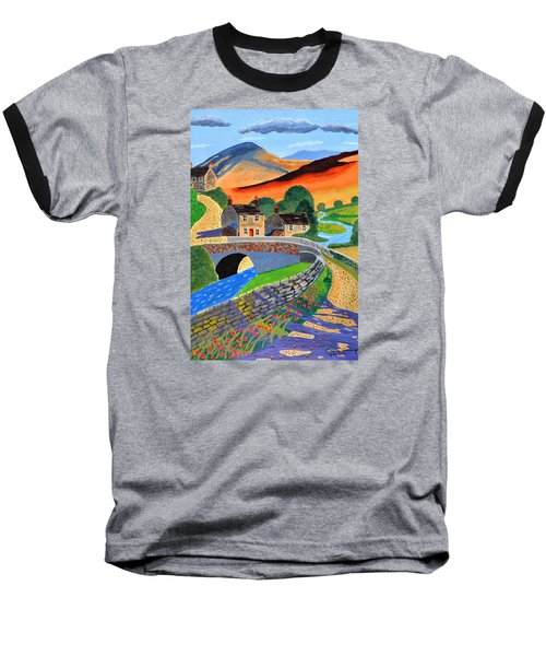 Baseball T-Shirt featuring the painting a Scottish highland lane by Magdalena Frohnsdorff