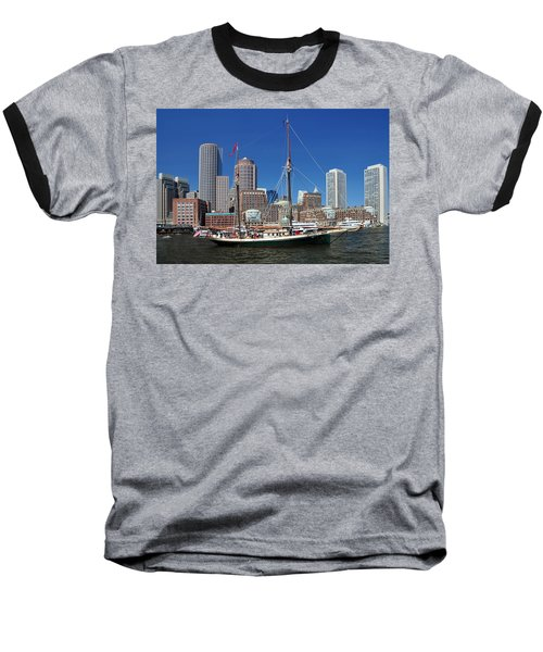 A Ship In Boston Harbor Baseball T-Shirt