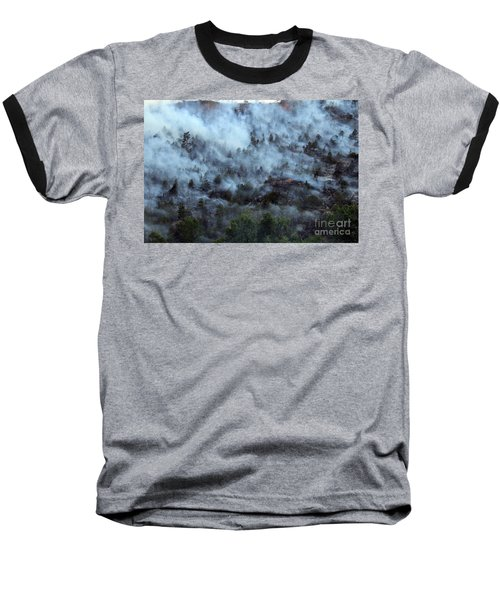 A Smoky Slope On White Draw Fire Baseball T-Shirt