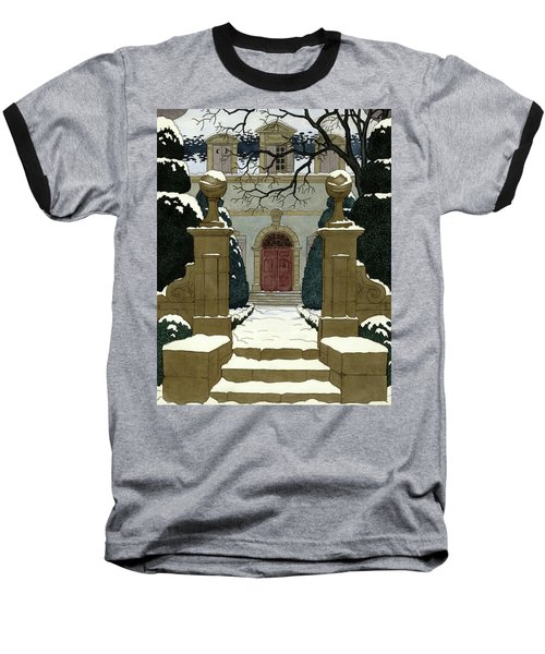 A Snow Covered Pathway Leading To A Mansion Baseball T-Shirt