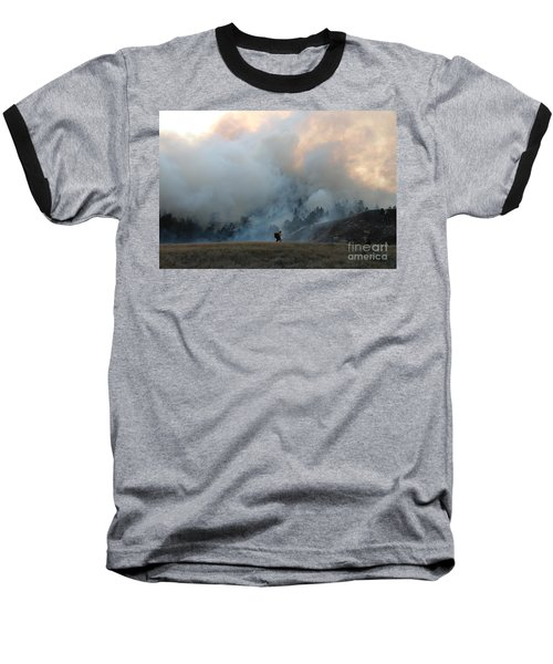 Baseball T-Shirt featuring the photograph A Solitary Firefighter On The White Draw Fire by Bill Gabbert