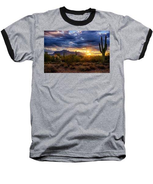 A Sonoran Desert Sunrise Baseball T-Shirt by Saija  Lehtonen