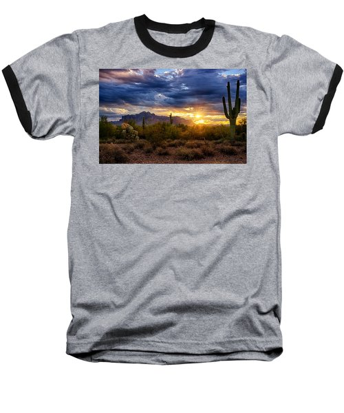 A Sonoran Desert Sunrise Baseball T-Shirt