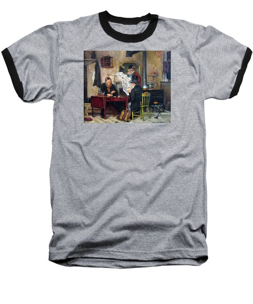 Baseball T-Shirt featuring the painting A Study Of Waiting For The Stage by Donna Tucker