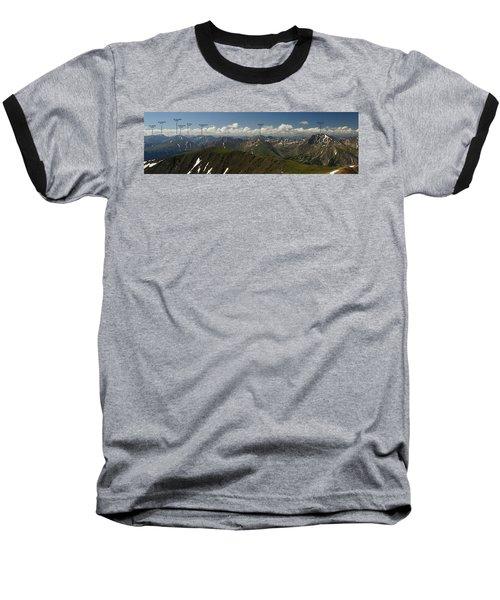 A Summit View Panorama Text Baseball T-Shirt by Jeremy Rhoades