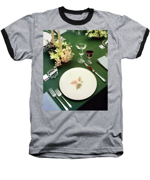 A Table Setting On A Green Tablecloth Baseball T-Shirt