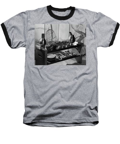 A Table With Tableware And Snacks Baseball T-Shirt