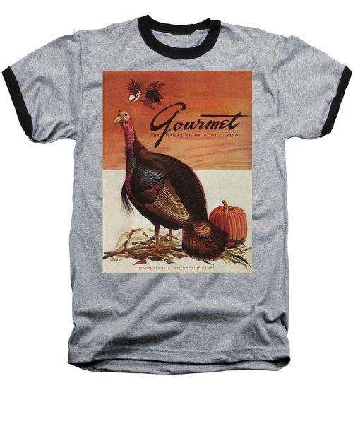 A Thanksgiving Turkey And Pumpkin Baseball T-Shirt