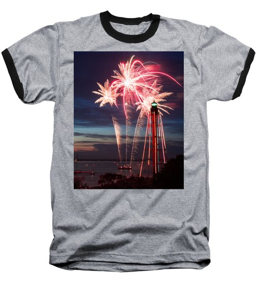 A Three Burst Salvo Of Fire For The Fourth Of July Baseball T-Shirt by Jeff Folger