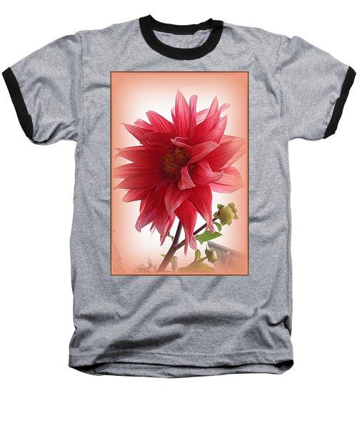 A Vision In  Coral - Dahlia Baseball T-Shirt by Dora Sofia Caputo Photographic Art and Design