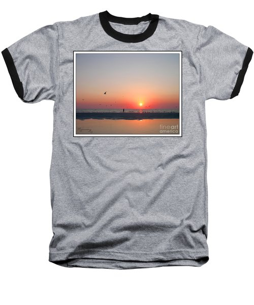 Baseball T-Shirt featuring the photograph A Walk At Sunset by Mariarosa Rockefeller