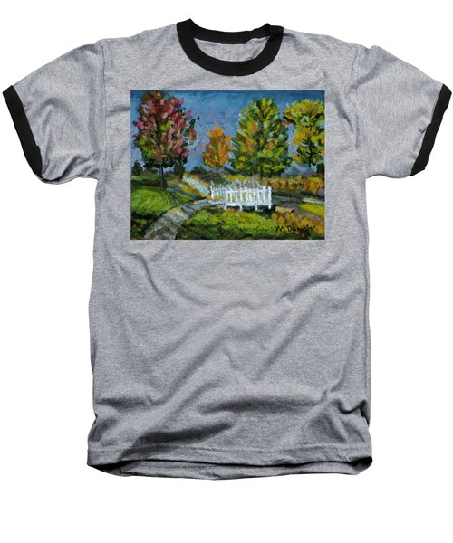 Baseball T-Shirt featuring the painting A Walk In The Park by Michael Daniels