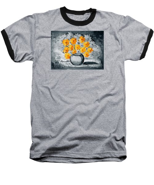 A Whole Bunch Of Daisies Selective Color I Baseball T-Shirt by Ramona Matei