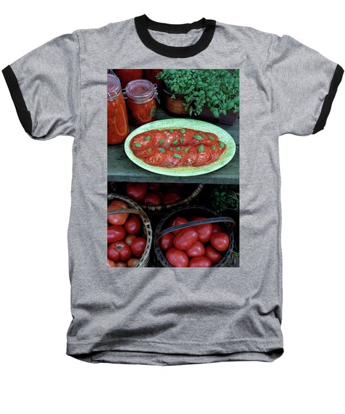 A Wine & Food Cover Of Tomatoes Baseball T-Shirt