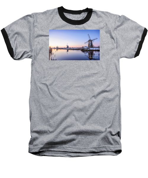 A Cold Winter Morning With Some Windmills In The Netherlands Baseball T-Shirt by IPics Photography