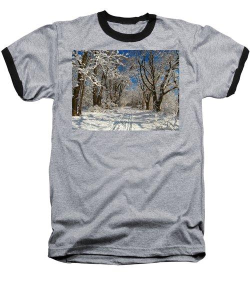Baseball T-Shirt featuring the photograph A Winter Road by Raymond Salani III