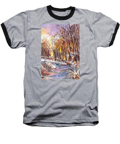 A Firey Winter Sunset Baseball T-Shirt