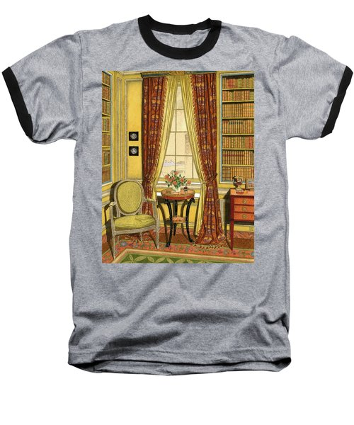 A Yellow Library With A Vase Of Flowers Baseball T-Shirt