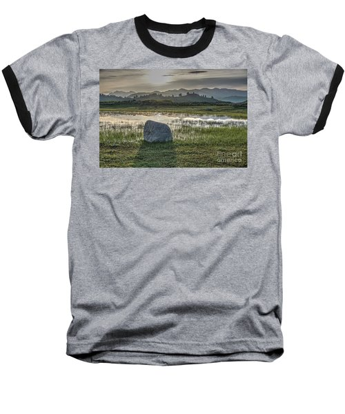 A Yellowstone Sunrise And Hazy Morning Ridges Baseball T-Shirt