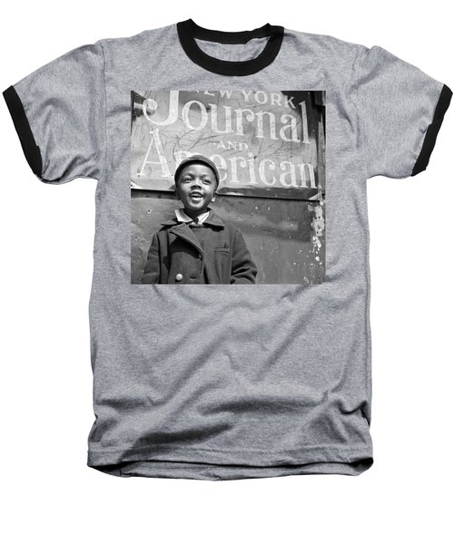 A Young Harlem Newsboy Baseball T-Shirt by Underwood Archives