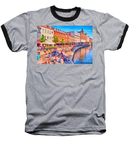 Aarhus Canal Digital Painting Baseball T-Shirt by Antony McAulay