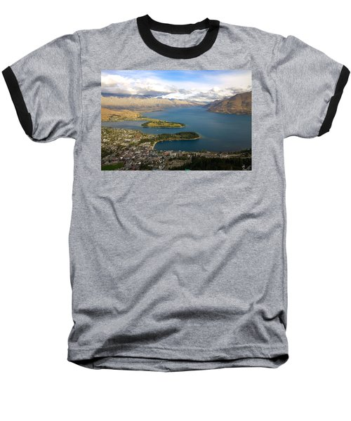 Above Queenstown Baseball T-Shirt by Stuart Litoff