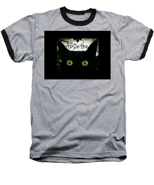 Baseball T-Shirt featuring the digital art Absinthe Black Cat by Absinthe Art By Michelle LeAnn Scott