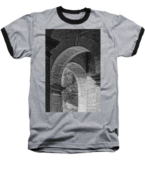 Abstract Arches Colosseum Mono Baseball T-Shirt